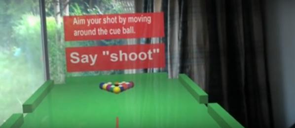 室内にホログラフィックなビリヤード台が現れるHololensのデモ動画が公開される