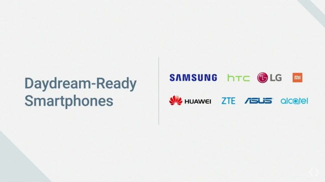 Daydream Readyスマホのパートナーのロゴ一覧にXiaomiのロゴもある(上段右端)