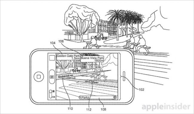 iPhoneの背面カメラの画像に地図情報をAR表示することを説明した図