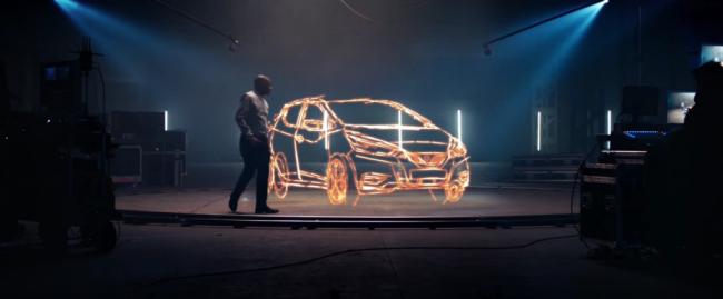 空間上に自動車の輪郭を描写する