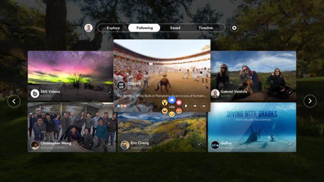 Facebook 360フィード画面