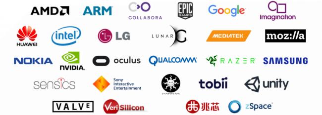 OpenXRのパートナーシップ企業のロゴ