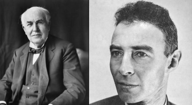 白熱電球を「発明」したエジソン(左)と「原爆の父」オッペンハイマー(右)