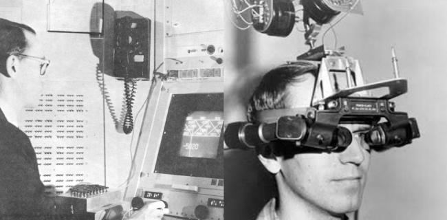 GUIデバイスの先駆となった1963年発表のSketchpad(左)とVRヘッドセットの先駆となった1968年発表のThe Sword of Damocles(右)