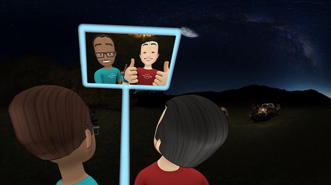 VR空間でバーチャル自撮り棒を使う
