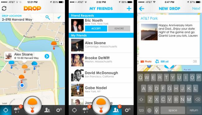 メッセージ共有アプリ「Drop Messages」のアプリ画面。TEchCrunchの当該記事より引用