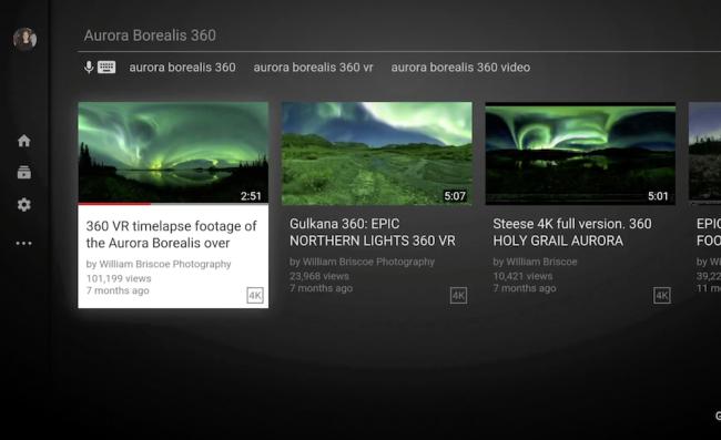 スマートTVの画面から360°動画を選択する時の画像