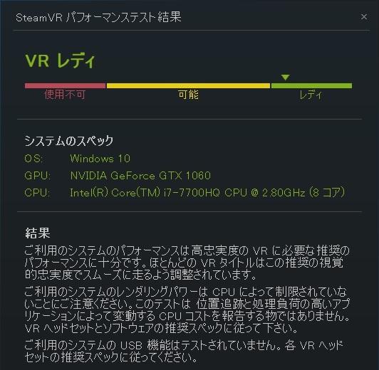 SteamVR パフォーマンステスト」結果