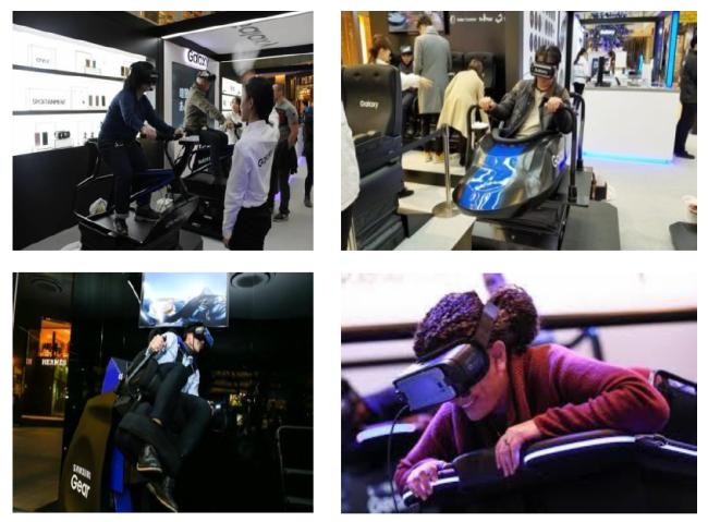 VR アトラクション (パルサー、スケルトン、マウンテンバイク、カヤック)
