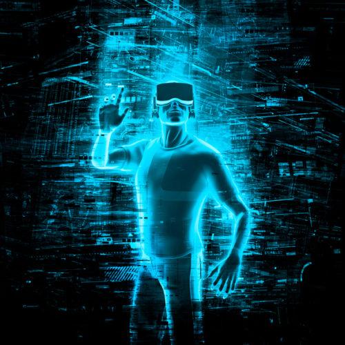 デジタル空間にいる男性