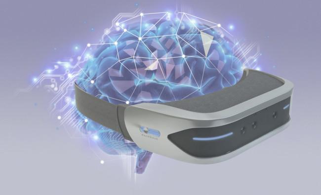 脳とVRヘッドセットのイメージ