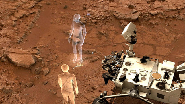 火星の探査機が見える