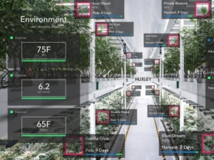 ARで温室と植物の情報が表示される