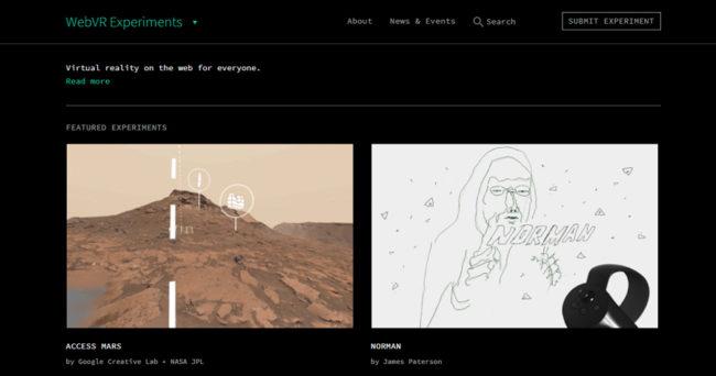 「WebVR Experiments」