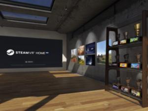SteamVR Homeに飾られたトロフィーとアートワーク