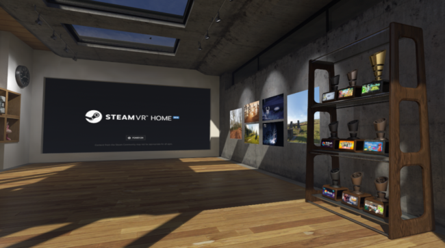 トロフィーが飾られたSteam VR Home