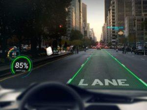 AR技術を搭載した自動車の運転席